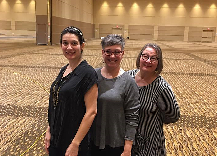 L-R; Teaki Garcia, Creator of the Maker's Space; Mary Laven, Planning Committee volunteer and owner of Wind Over Fire Healing Center and Terri Allred, Producer.
